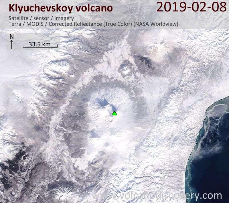 Satellite image of Klyuchevskoy volcano on  8 Feb 2019