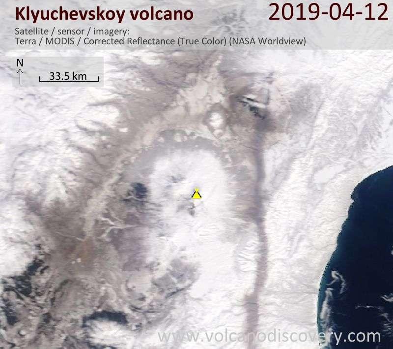 Satellite image of Klyuchevskoy volcano on 12 Apr 2019