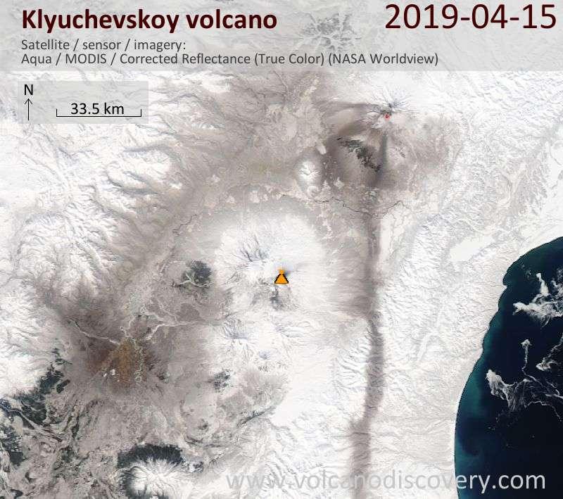 Satellite image of Klyuchevskoy volcano on 15 Apr 2019