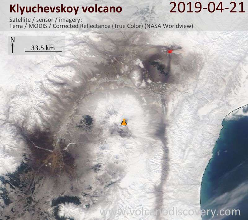 Satellite image of Klyuchevskoy volcano on 21 Apr 2019
