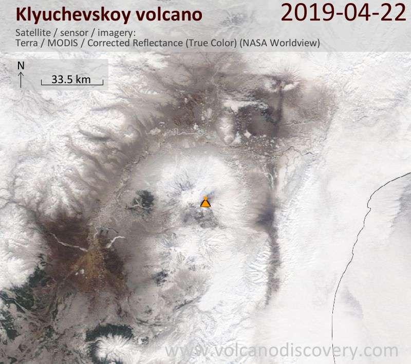 Спутниковое изображение вулкана Klyuchevskoy 22 Apr 2019