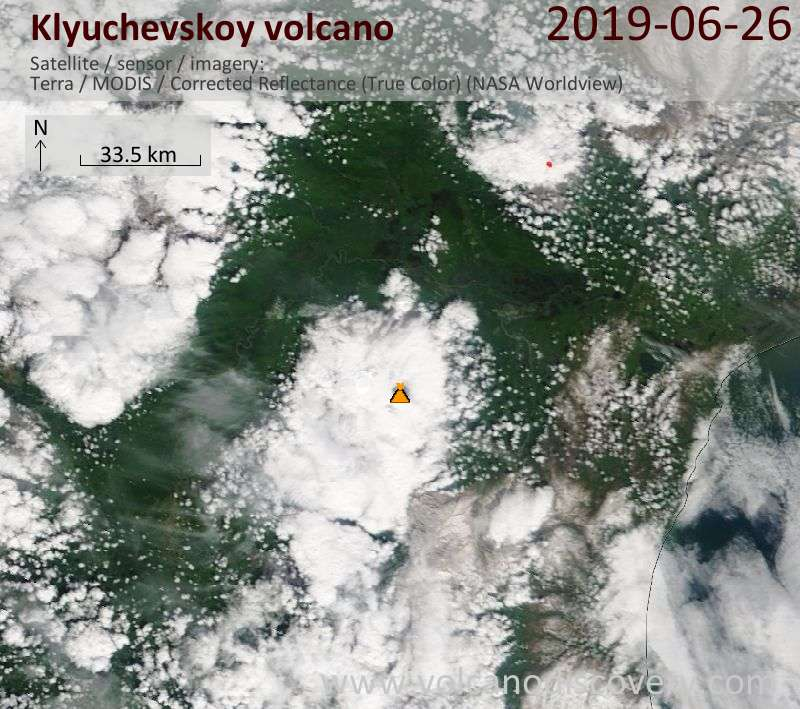 Satellite image of Klyuchevskoy volcano on 26 Jun 2019