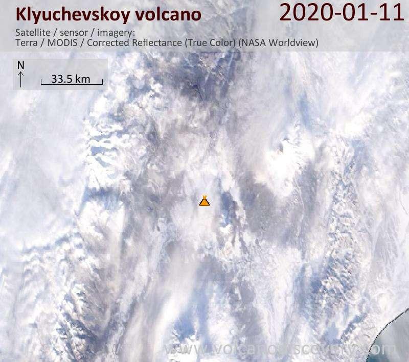 Satellite image of Klyuchevskoy volcano on 11 Jan 2020