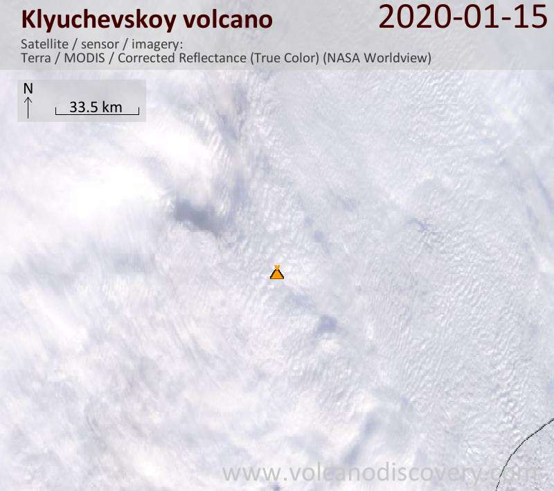 Satellite image of Klyuchevskoy volcano on 15 Jan 2020