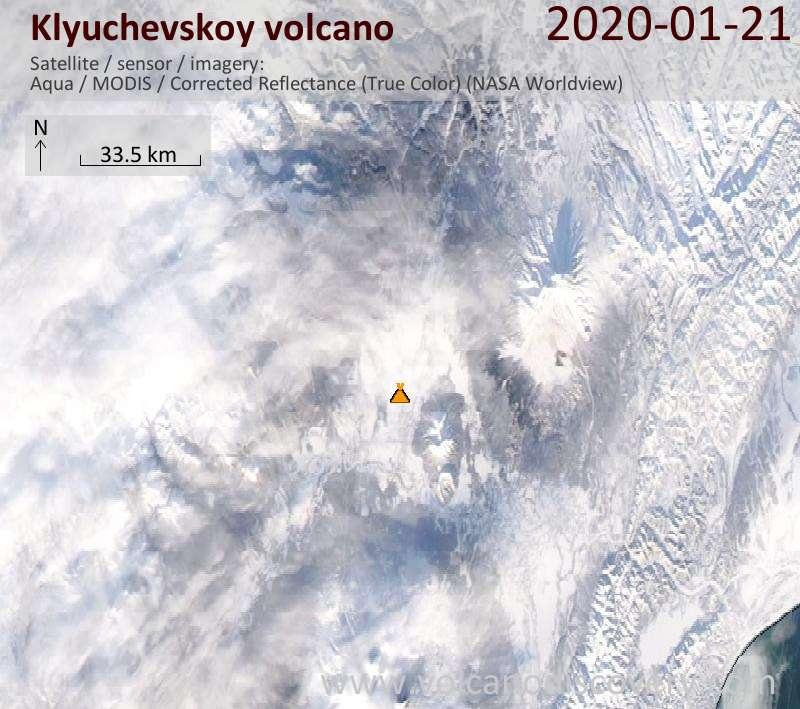 Satellite image of Klyuchevskoy volcano on 21 Jan 2020