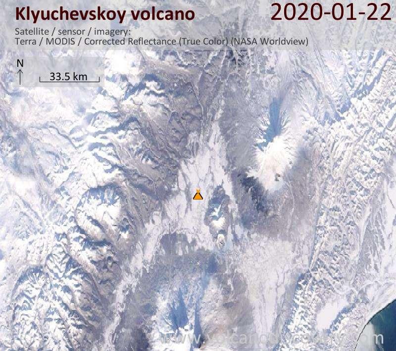 Satellite image of Klyuchevskoy volcano on 22 Jan 2020