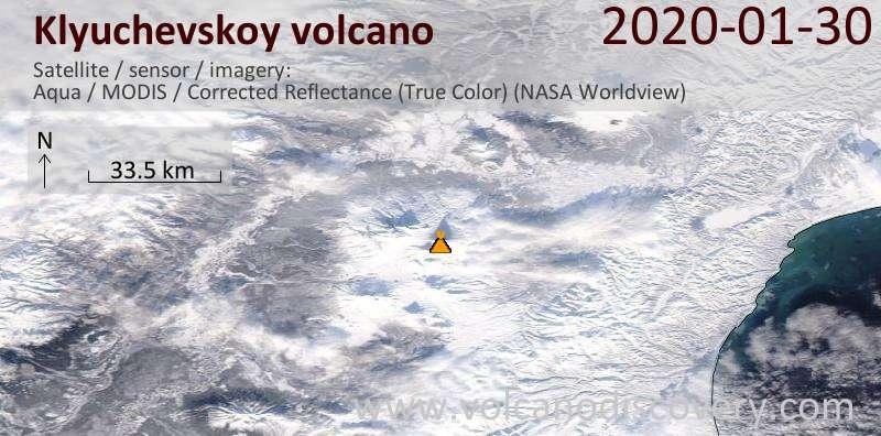 Satellitenbild des Klyuchevskoy Vulkans am 30 Jan 2020