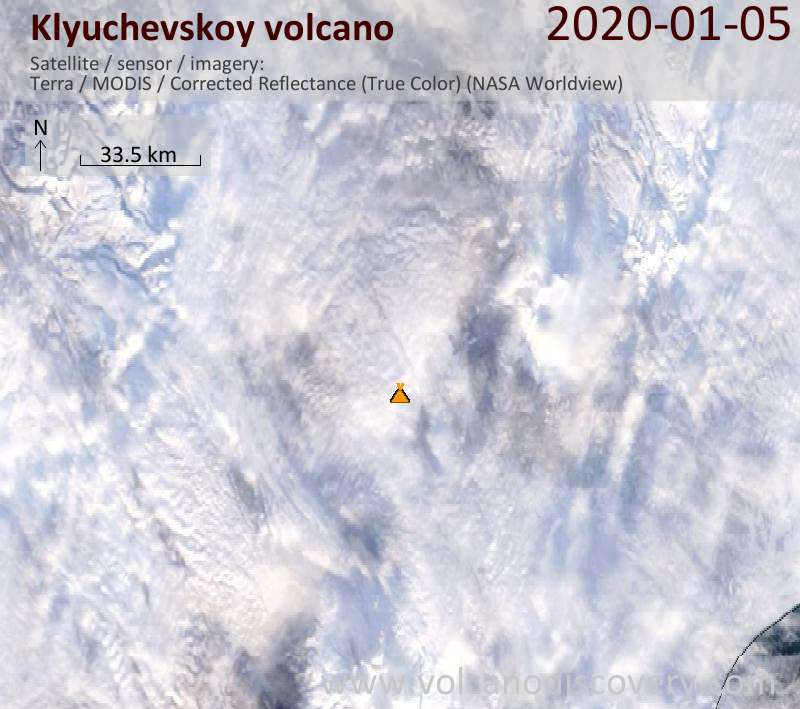 Satellite image of Klyuchevskoy volcano on  5 Jan 2020