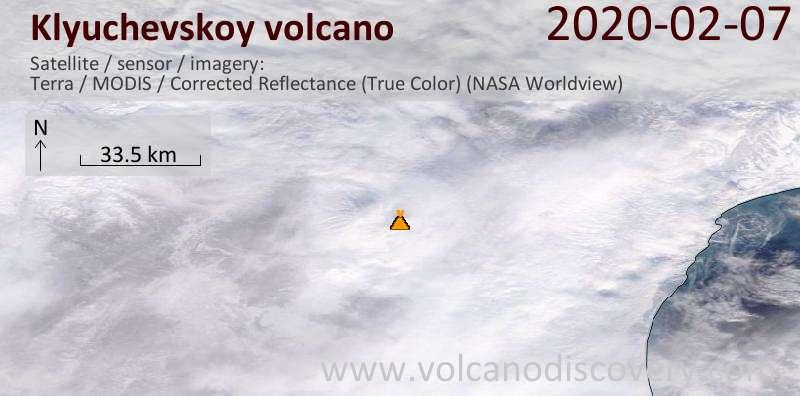 Спутниковое изображение вулкана Klyuchevskoy  7 Feb 2020