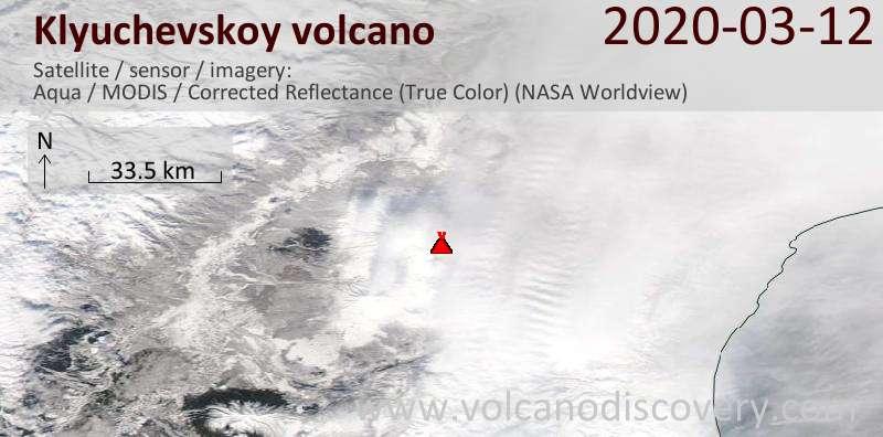 Satellite image of Klyuchevskoy volcano on 12 Mar 2020