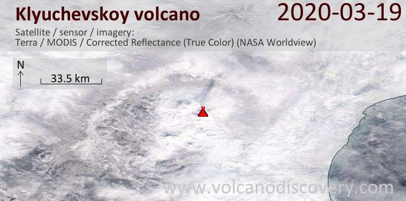 Satellite image of Klyuchevskoy volcano on 19 Mar 2020