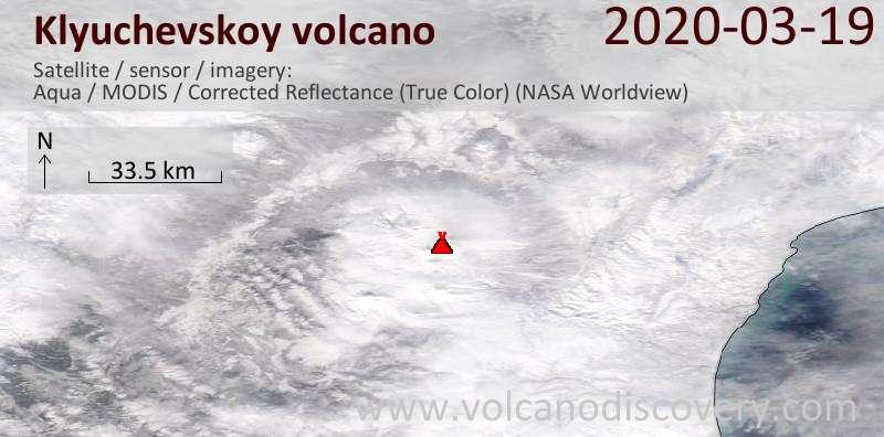 Satellite image of Klyuchevskoy volcano on 20 Mar 2020