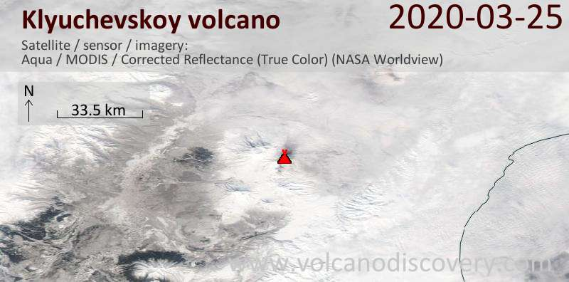 Satellite image of Klyuchevskoy volcano on 25 Mar 2020