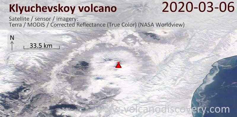 Satellite image of Klyuchevskoy volcano on  6 Mar 2020