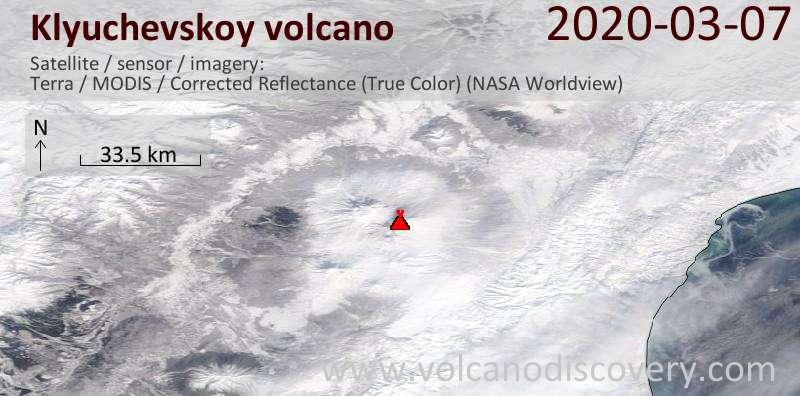 Satellite image of Klyuchevskoy volcano on  7 Mar 2020