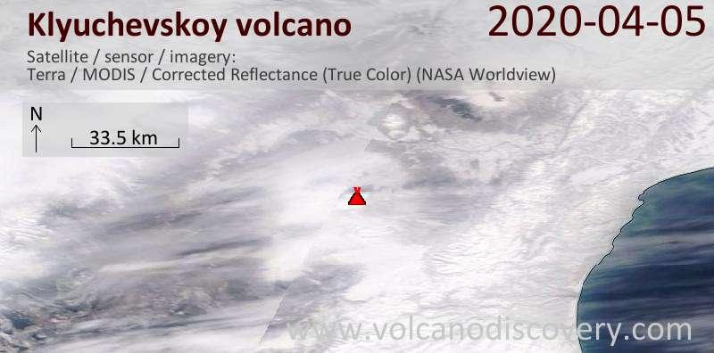 Спутниковое изображение вулкана Klyuchevskoy  5 Apr 2020