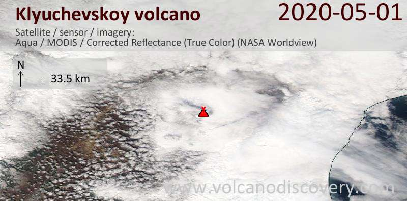 Satellite image of Klyuchevskoy volcano on  1 May 2020
