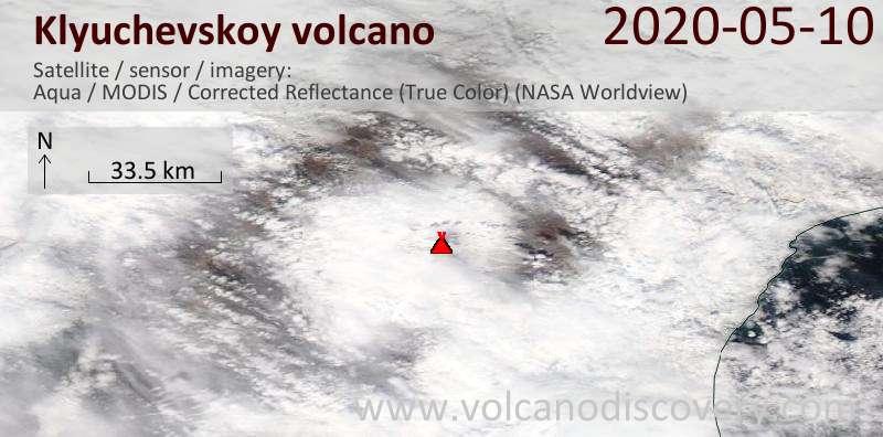 Satellite image of Klyuchevskoy volcano on 10 May 2020