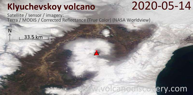 Satellite image of Klyuchevskoy volcano on 14 May 2020