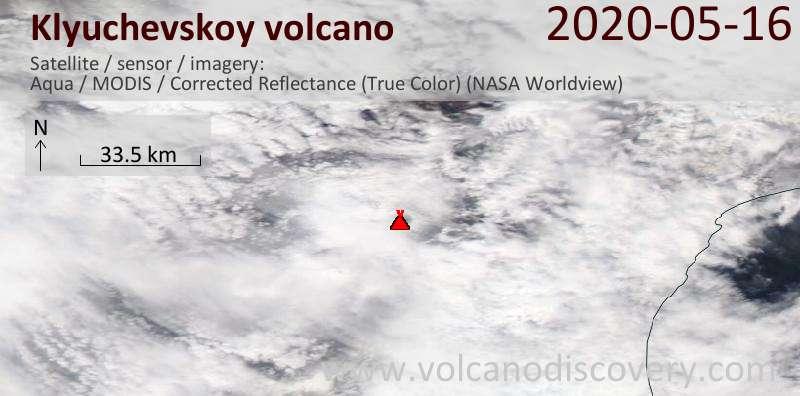 Satellite image of Klyuchevskoy volcano on 16 May 2020