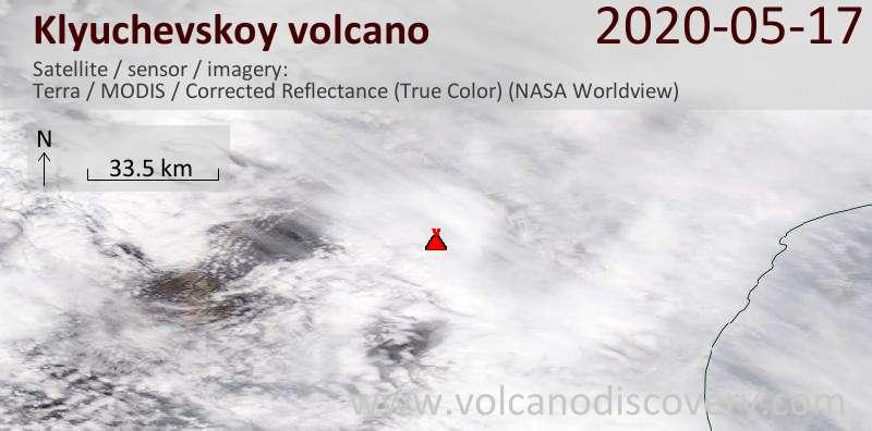 Satellite image of Klyuchevskoy volcano on 17 May 2020