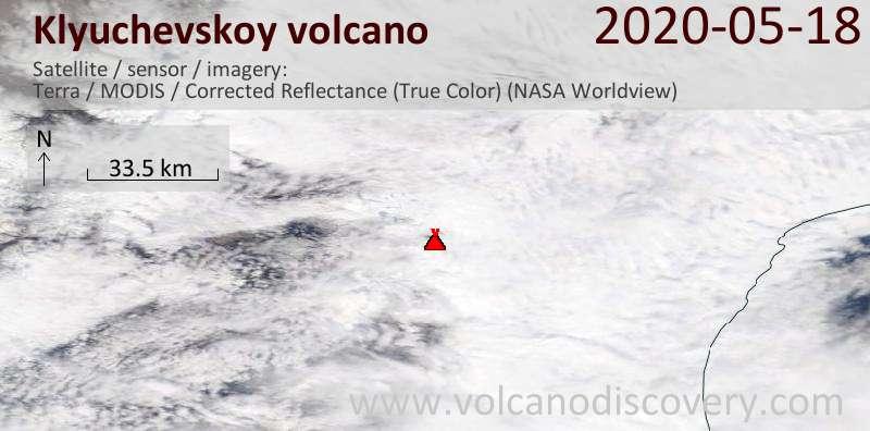 Satellite image of Klyuchevskoy volcano on 18 May 2020