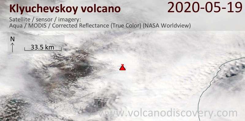 Satellite image of Klyuchevskoy volcano on 19 May 2020