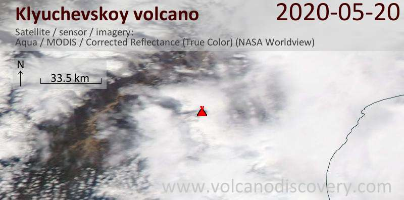 Satellite image of Klyuchevskoy volcano on 20 May 2020