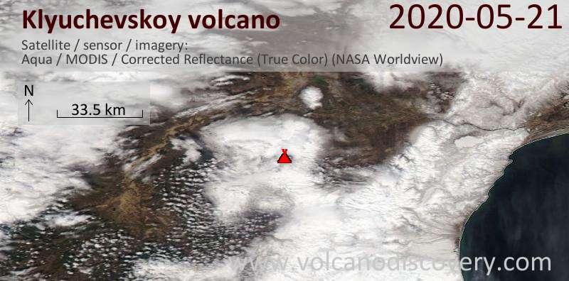 Satellite image of Klyuchevskoy volcano on 21 May 2020