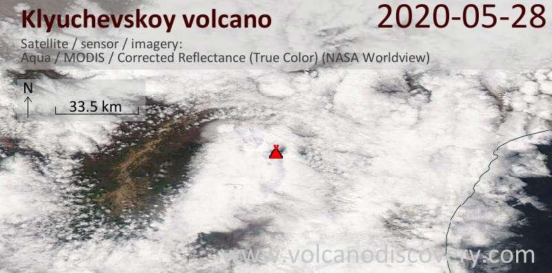 Satellite image of Klyuchevskoy volcano on 29 May 2020