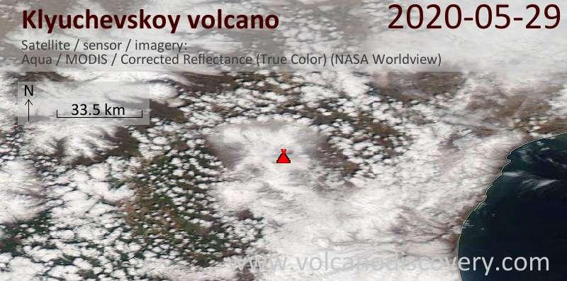 Satellitenbild des Klyuchevskoy Vulkans am 30 May 2020