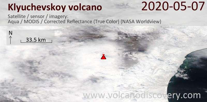 Satellite image of Klyuchevskoy volcano on  7 May 2020