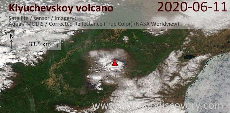 Satellite image of Klyuchevskoy volcano on 11 Jun 2020
