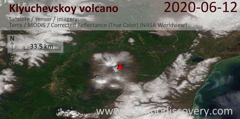 Satellite image of Klyuchevskoy volcano on 12 Jun 2020