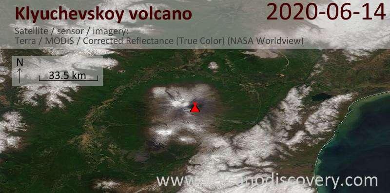 Satellite image of Klyuchevskoy volcano on 14 Jun 2020
