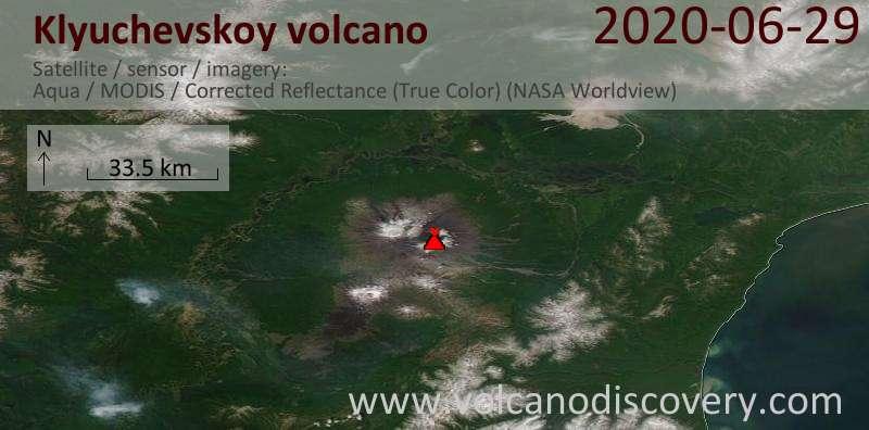 Satellite image of Klyuchevskoy volcano on 29 Jun 2020