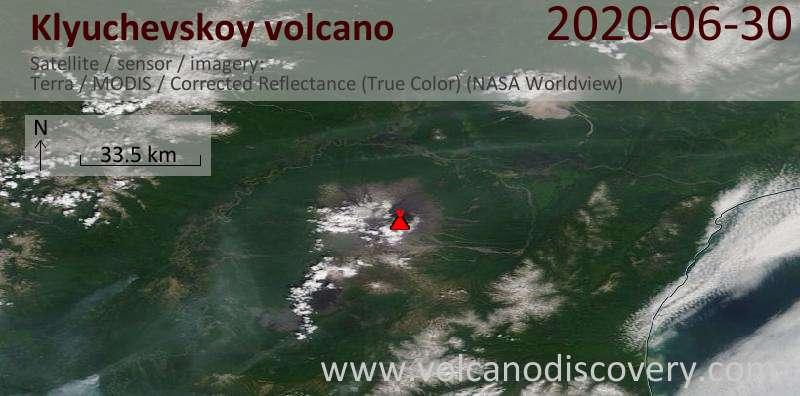 Satellite image of Klyuchevskoy volcano on 30 Jun 2020