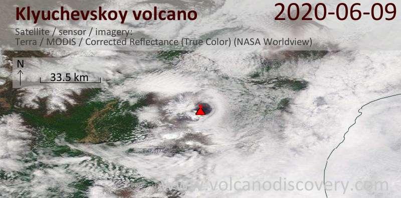 Satellite image of Klyuchevskoy volcano on  9 Jun 2020