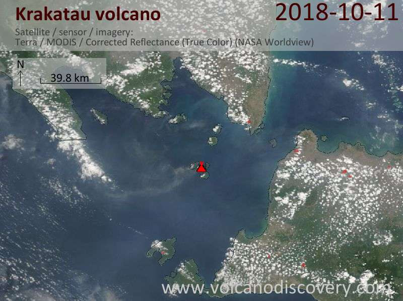 Satellite image of Krakatau volcano on 11 Oct 2018