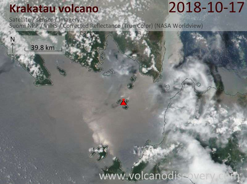 Satellite image of Krakatau volcano on 17 Oct 2018