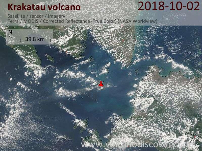 Satellite image of Krakatau volcano on  2 Oct 2018