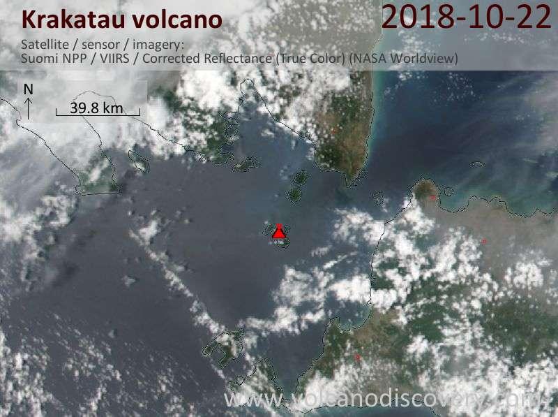 Satellite image of Krakatau volcano on 23 Oct 2018