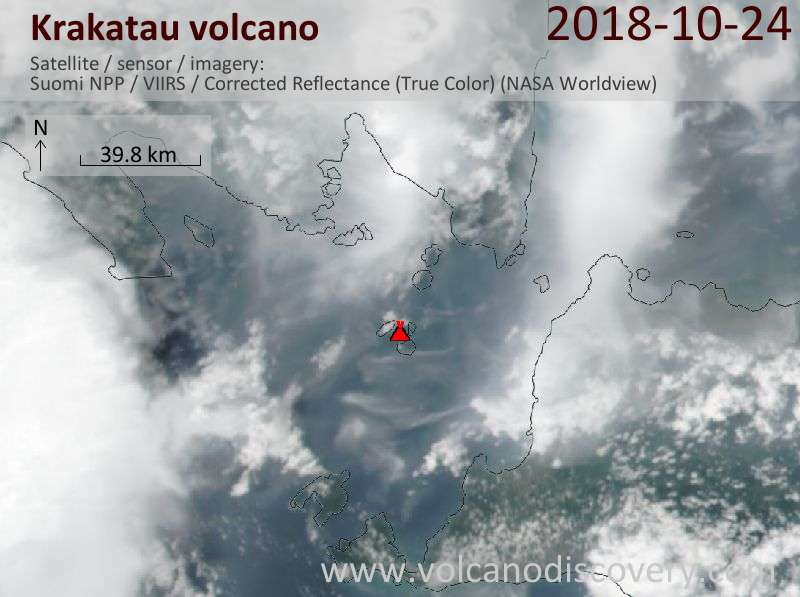 Satellite image of Krakatau volcano on 24 Oct 2018