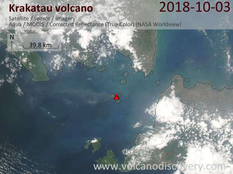 Satellite image of Krakatau volcano on  3 Oct 2018