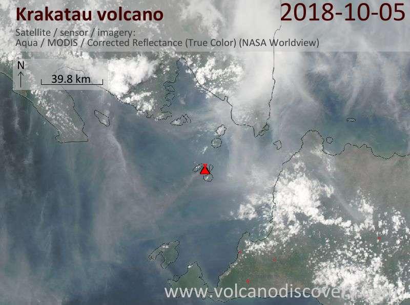 Satellite image of Krakatau volcano on  5 Oct 2018