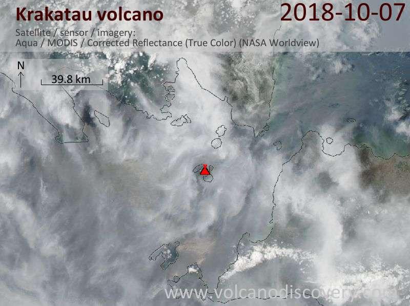 Satellite image of Krakatau volcano on  7 Oct 2018