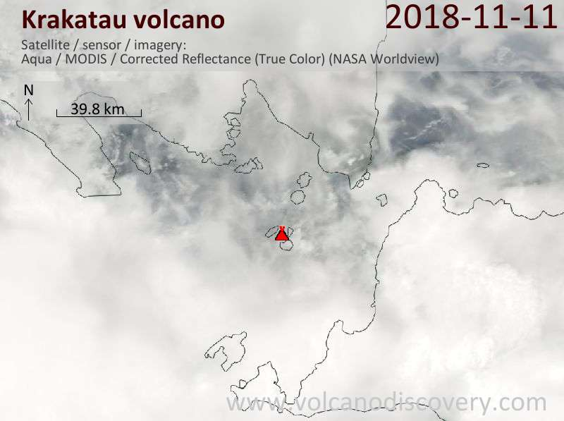 Satellite image of Krakatau volcano on 11 Nov 2018