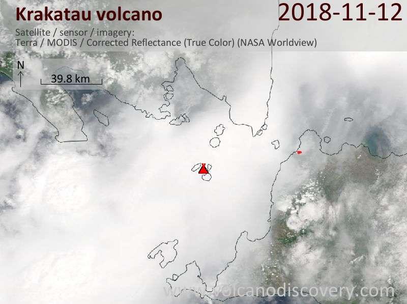 Satellite image of Krakatau volcano on 12 Nov 2018