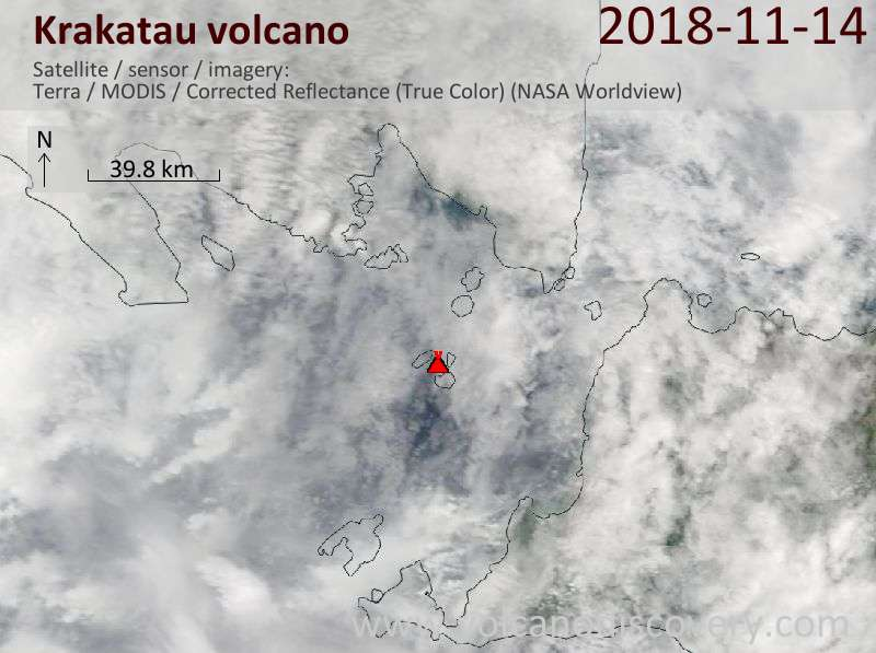 Satellite image of Krakatau volcano on 14 Nov 2018