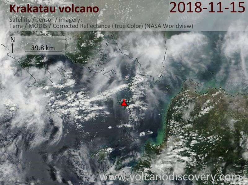 Satellite image of Krakatau volcano on 16 Nov 2018